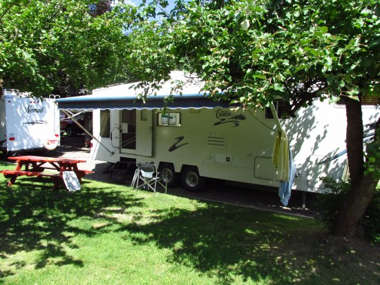 Sorrento, Canada: RV hook-up site, grass and shade trees.