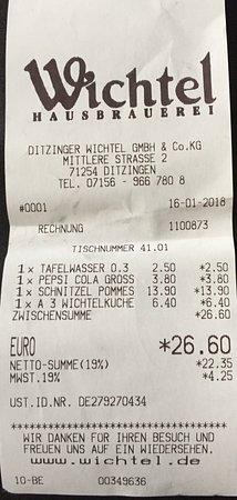 Ditzingen, Jerman: Rechnung