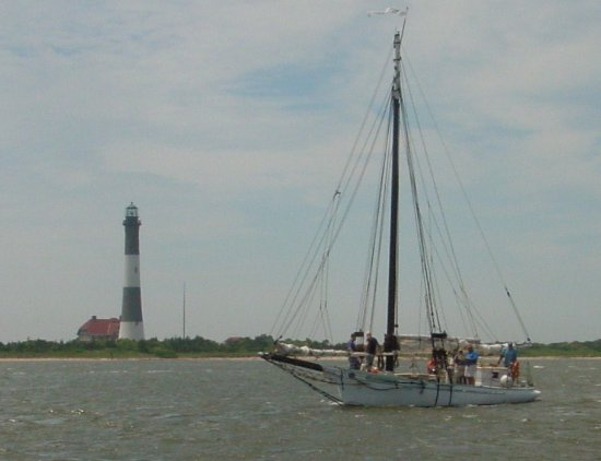 Sail Priscilla Motoring Home From Robert Moses State Park Fire Island Lighthouse In