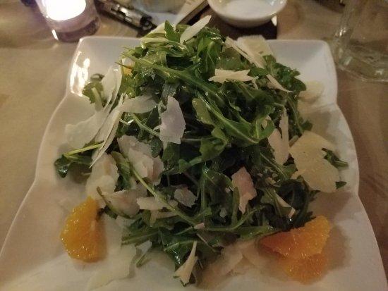 Isa : Arugula salad with mandarin and Parmesan cheese
