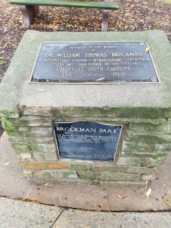 Greenville, SC: Historical marker at Brockman Park