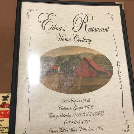 Chatsworth, Τζόρτζια: Edna's Menu