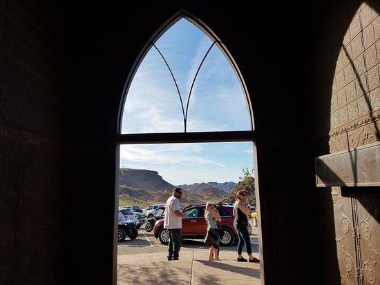 Desert Bar and Nellie E Saloon: Through the steeple base.