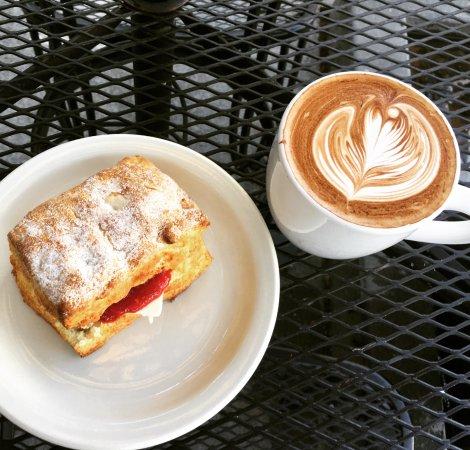 Edmonds, WA: Fresh Baked Jam Biscuit, Latte.