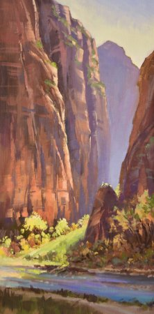 "LaFave Gallery: ""Riverwalk-Temple of Sinewava"" by Mary Jabens shows spectacular morning light deep in Zion Canyo"
