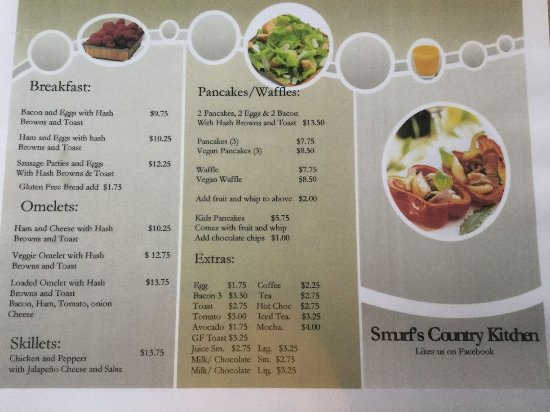 Menu at Smurf's Country Kitchen in Seymour Arm, BC on Shuswap Lake