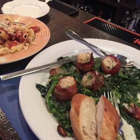 Glen Gardner, NJ: Bacon wrapped Scallops over broccoli rabe