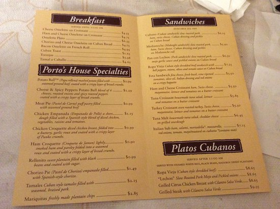 Portos bakery cafe menu picture of portos bakery cafe portos bakery cafe menu thecheapjerseys Images