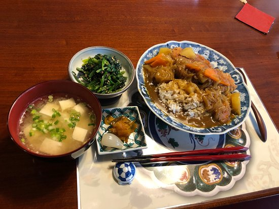 Left to right- Miso soup, spinach with sesame dressing, pork katsu-curry on rice.