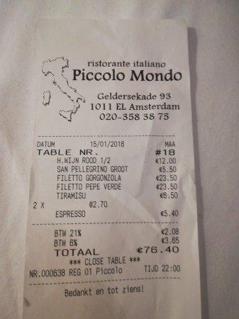 Restaurant Piccolo Mondo Amsterdam: Mangiato benissimo. Il filetto era morbido si tagliava con la forchetta. Ristorante ottimo.