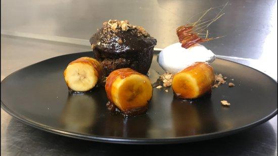 Wickham, UK: Sticky Toffee Pudding Seved with Caramalised Banana & Chantilly