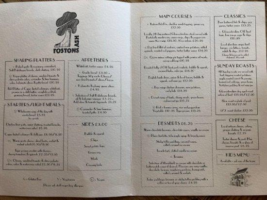 Birdlip, UK: Ash menu