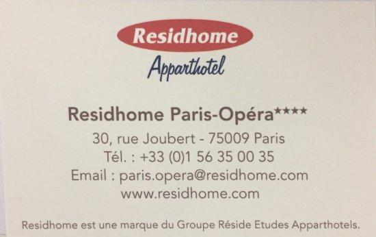 Residhome Paris-Opera: DATOS