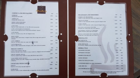 Mikes Coffee Menu Picture Of H10 Rubicon Palace Playa