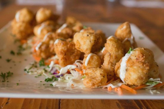 Camano Island, WA: Crispy Cauliflower Appetizer. Hand breaded and fried to perfection. Drizzled with homemade ranch