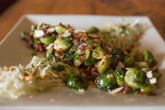 Camano Island, WA: Brussel Wilson - Sautéed brussel sprouts, bacon, in a  mirin pan sauce wtih shaved almonds
