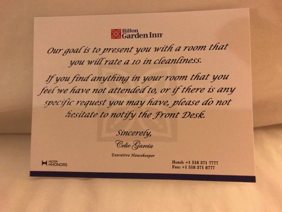 Clifton Park, État de New York : Welcome card from the Executive Housekeeper