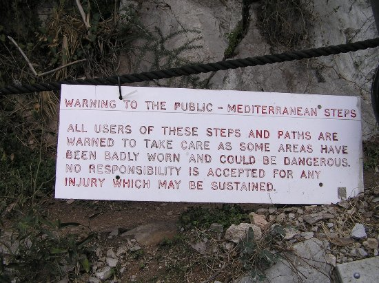 Mediterranean Steps Warning Sign, Gibraltar