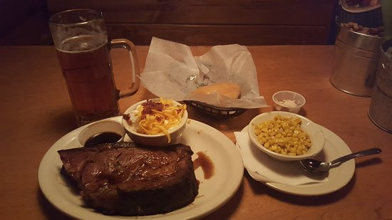 Texas Roadhouse: 16 oz prime rib, mashed potatoes, corn, rolls, and fat tire.
