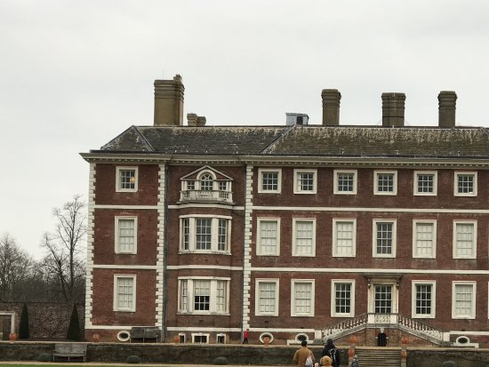 Ham house . Original house in the middle with an extension each side .