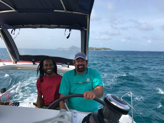 North Sound, Virgen Gorda: Gumption and I on the way back to Virgin Gorda after another amazing tour.