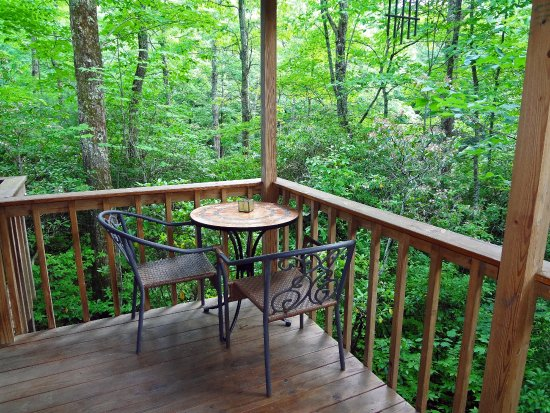 Lake Toxaway, Karolina Północna: Fox Hole Cabin back porch area