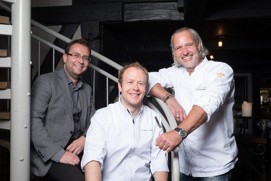 Tinnum, Tyskland: Sommelier & Restaurantleiter Martin Radusch, Küchenchef Philip Rümmele, Holger Bodendorf v.l.n.r