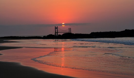 Mazeppa Bay, South Africa: Sunrise looking towards island with suspension bridge visible