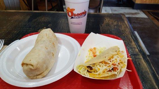 Smyrna, TN: Shrimp burrito and ground beef taco