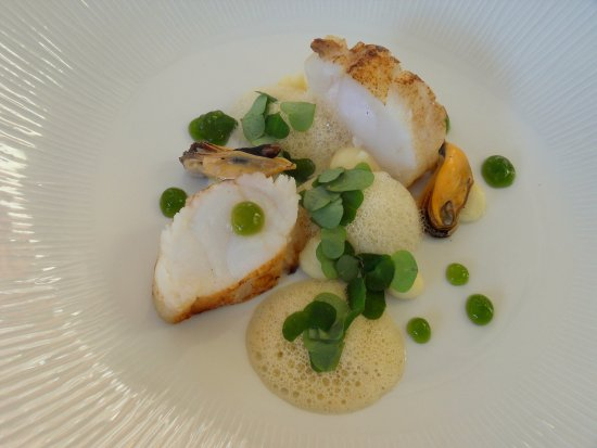 Temple Sowerby, UK: Roasted Monkfish tail with Mussel Broth, Caramelised Potato Purée and Sorrel