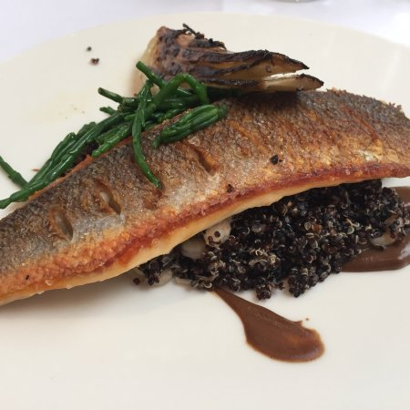 Hope, UK: Sea bass on quinoa.