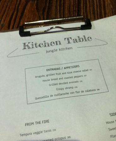 The Menu Picture Of Kitchen Table Tulum TripAdvisor - The kitchen table menu