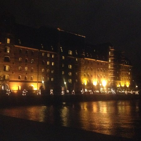 Copenhagen Admiral Hotel : Hotel from the waterfront - looks fantastic lit up at night