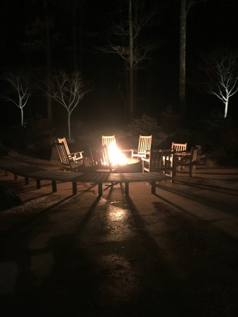 The Lodge at Woodloch: Firepit with rocking chairs