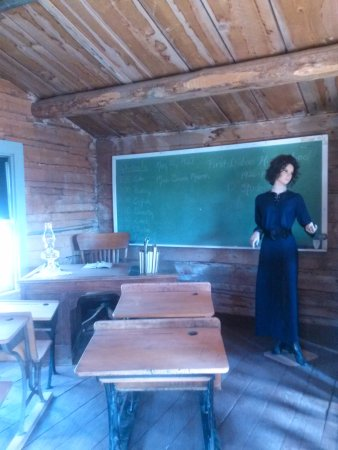 Dubois, WY: Interior of historic schoolhouse building on Museum grounds