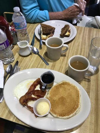 Rocky Bay Cafe: The senior breakfast, ample enough with real maple syrup