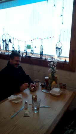 Ed & Mo's Diner: Another of our regular customers with his free birthday sundae.