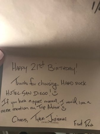 Hard Rock Hotel San Diego: Thanks Tyler for the nice card!