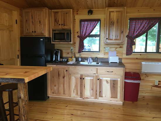 Richfield Springs, NY: Kitchen and living area in our newer deluxe cabins
