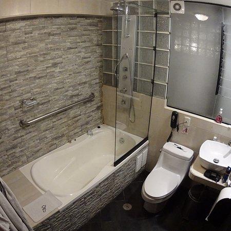 San Francisco Plaza Hotel: Pieza doble cama matrimonial y baño