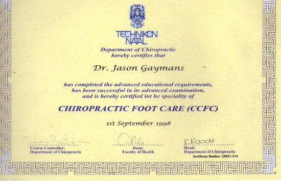 Cape Town, South Africa: Post-Grad Chiropractic Foot Care