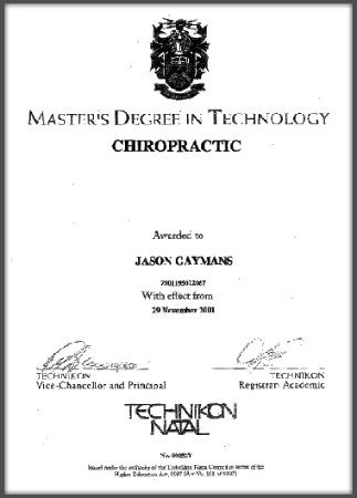 Cape Town, South Africa: `Masters Degree in Chiropractic