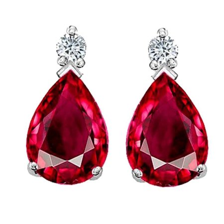 Галле, Шри-Ланка: 18K White Gold Earring S/W Ruby and Diamonds