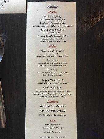 Crows Nest, Australia: The menu options we had