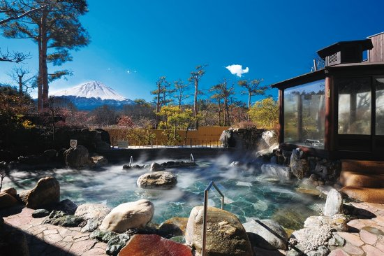 Narusawa-mura, Japan:  霊峰露天風呂 Sacred peak open-air bath