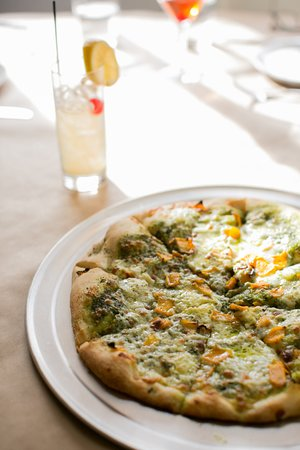 Palmetto, GA: Our seasonal winter pizza: bacon squash, ricotta and pesto.
