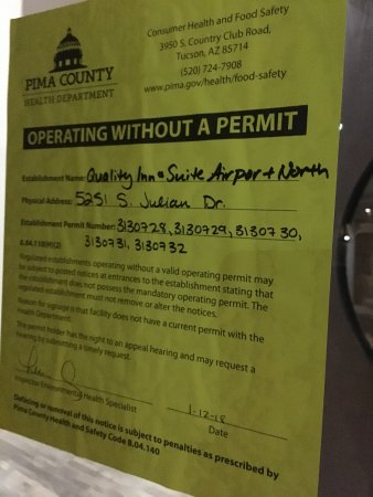 Stay Tucson Inn and Suites: Food Permits revoked 1-12-18