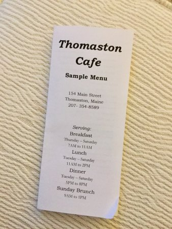 Thomaston, ME: Menu