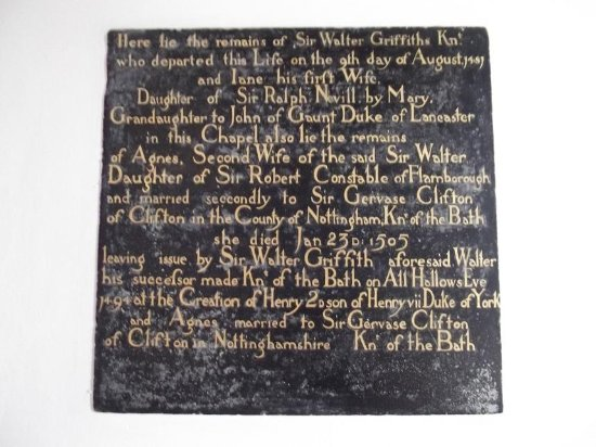 Burton Agnes, UK: Commemoration of an early founder of the Hall
