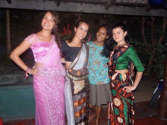 Gurudeniya, Sri Lanka: Wearing Sri Lankan style sarees at Sarath's home in Kandy
